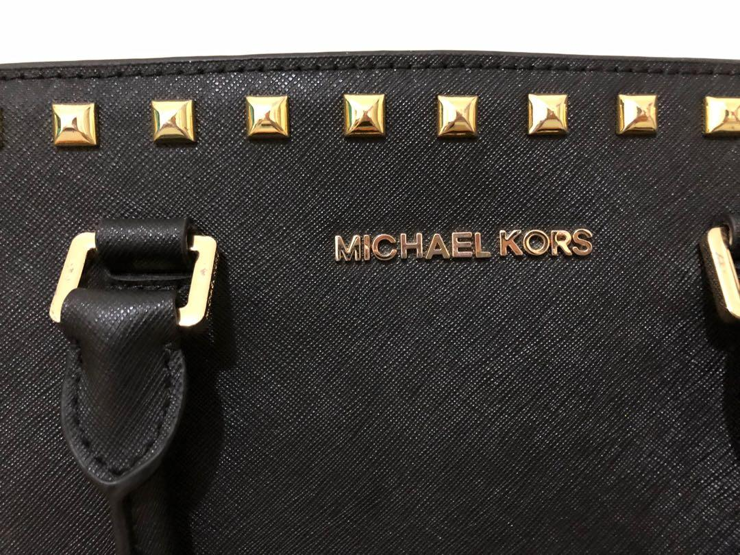 MICHAEL KORS Medium Selma Satchel - Black Studded