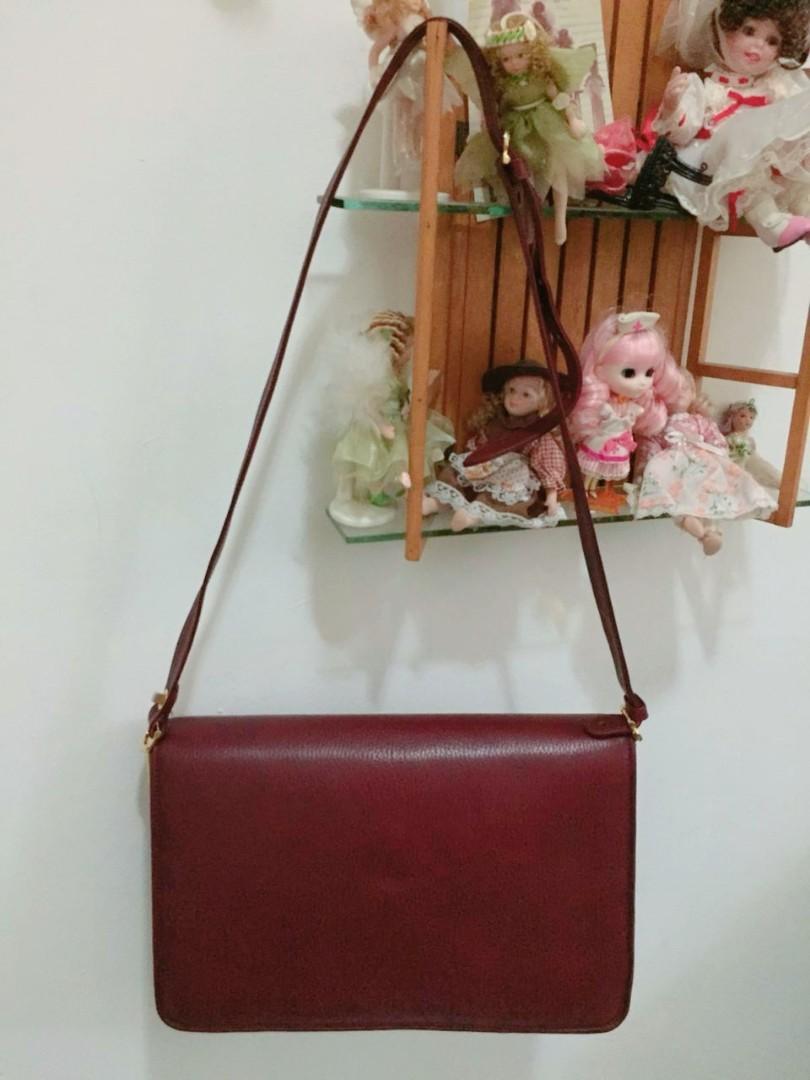 Must de Cartier Vintage Burgundy Leather Shoulder Bag