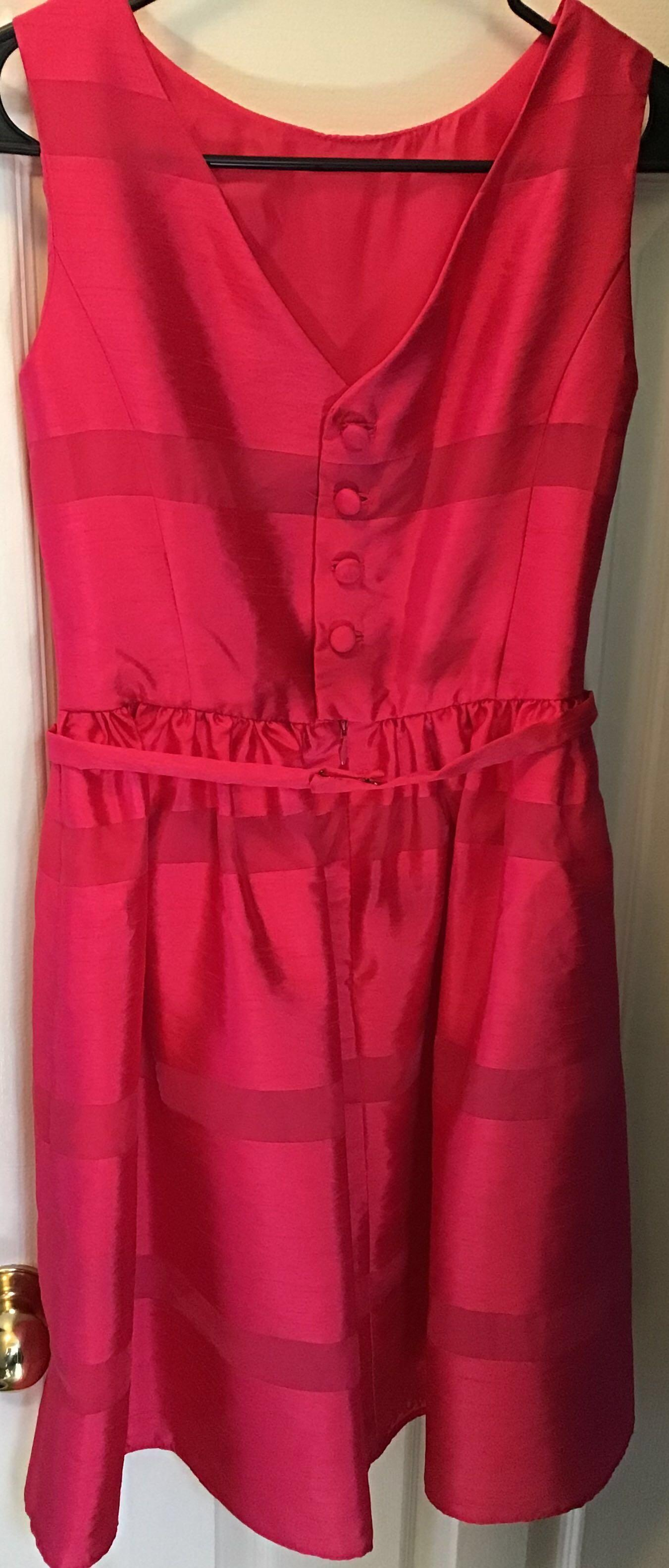 'Perfect in Pink' Tailored Fit + Flair Bright Pink Dress w/Bow Belt Special Occasion Sz. 2