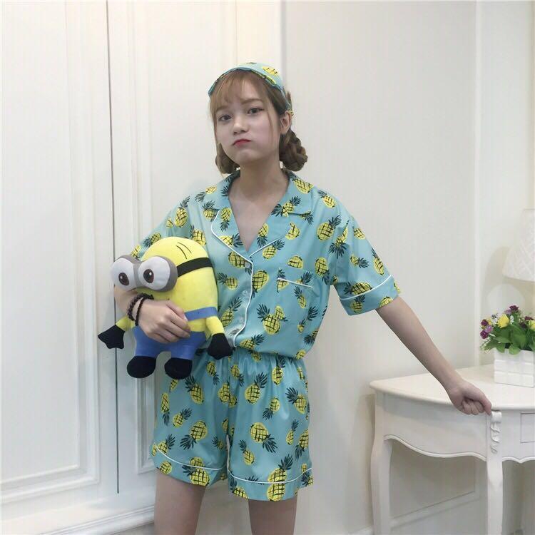 🔥(Pink/Blue) Pineapple Fruit Ulzzang Pyjamas Sleepwear Set