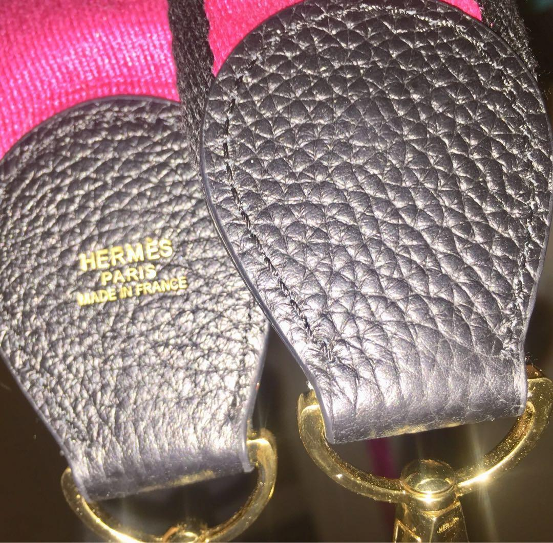 Reduced ~ RARE Authentic Hermes Pink & Black canvas/ leather bag strap
