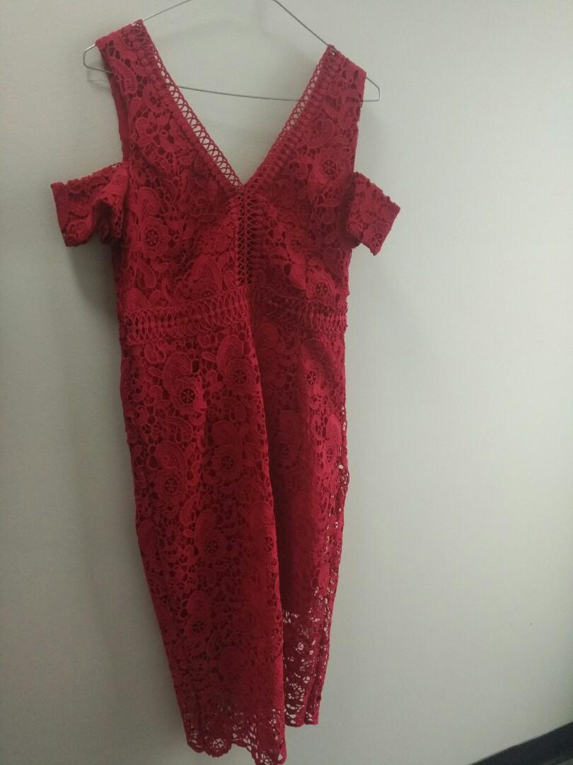 Red lace formal midi dress