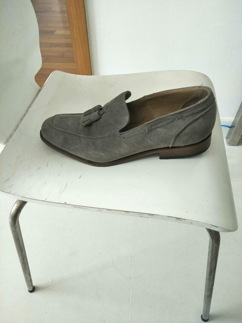 REISS London grey suede loafers
