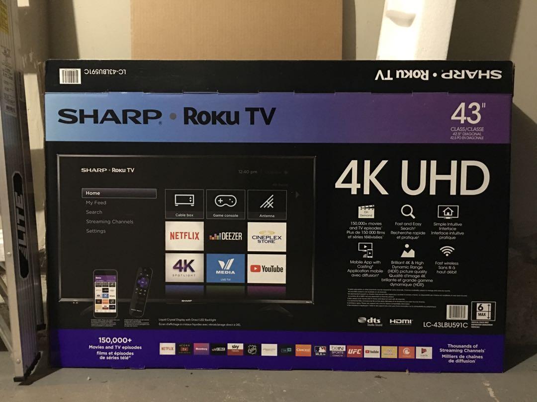 "Sharp 43"" 4K UHD HDR LED Roku Smart TV (LC-43LBU591C)"