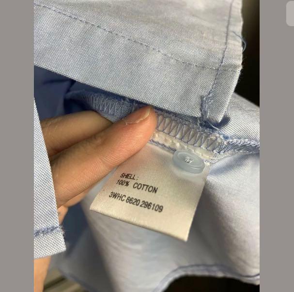 TEMT sz 12 chambray denim blue cold shoulder women top shirt blouse basic cotton