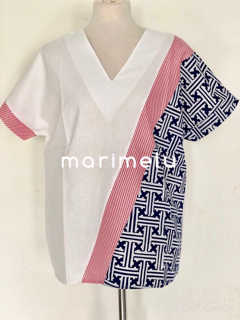 White and batik combination blouse