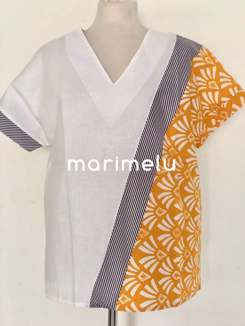 White and Mustard twist batik blouse