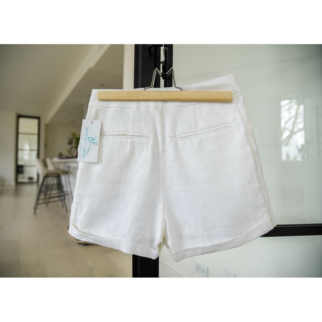 Whitney Linen White Tailored Shorts with side pockets