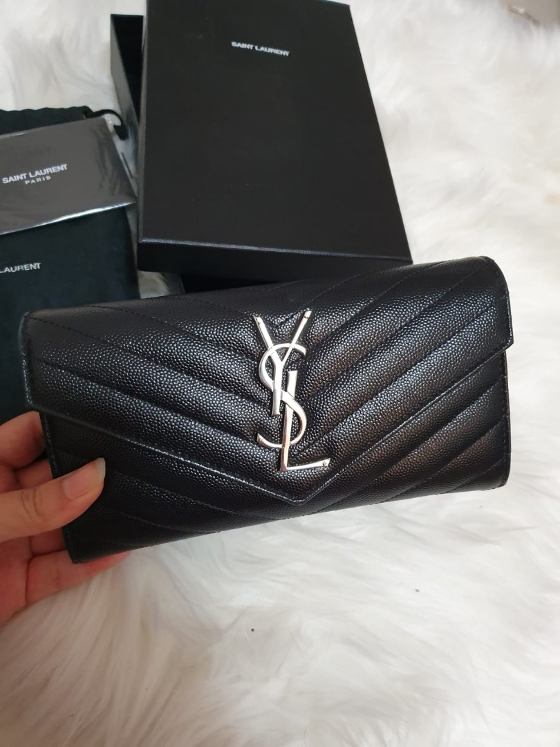 ebb5b6cf8ff YSL SAINT LAURENT MONOGRAM FLAP WALLET, Women's Fashion, Bags ...