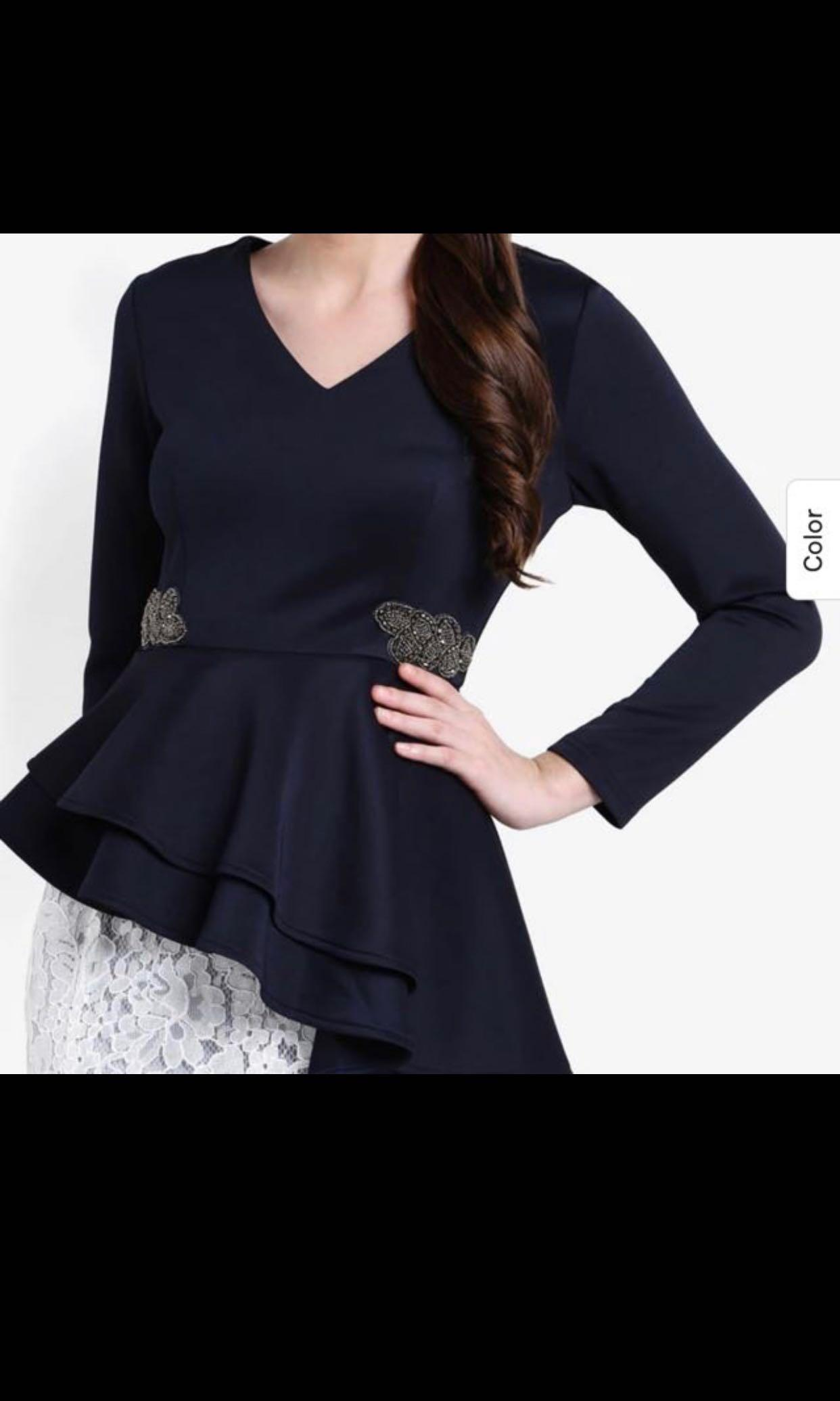 Zalia asymmetric peplum top