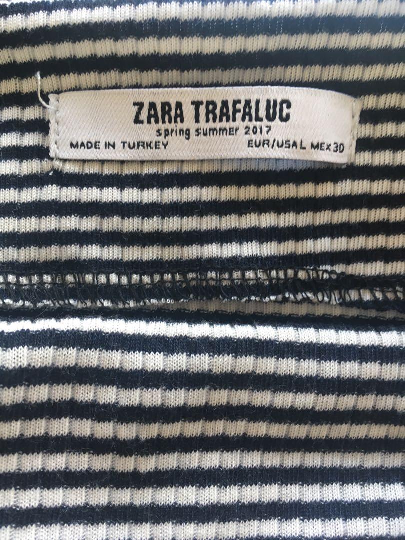 Zara Bardot off the shoulder long sleeve top black white stripe
