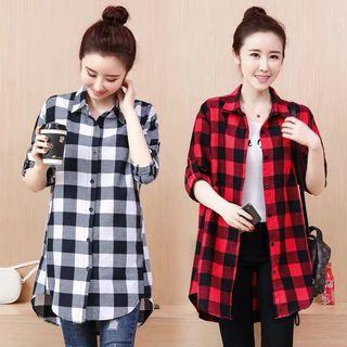 Korean version of cotton plaid long-sleeved casual jacket