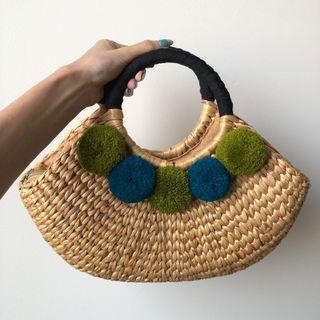 High Quality Rattan Bag With Pom Poms