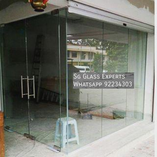 Retail office frontage glass door partition