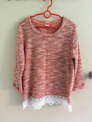 🚚 [PENDING] Bossini Peach-Orange Textured/Knitted Top with White Lace Bottom