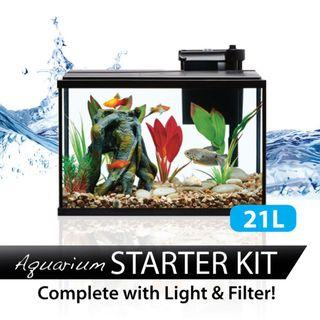 21L Glass Aquarium Fish Tank with LED Lights and Filter