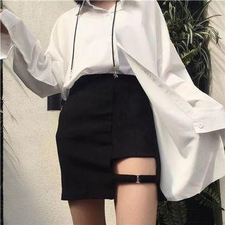 🚚 小性感黑色簍空圓環短裙-M號