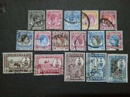 Mix Malaya 1949 1954 1957 Penang Up To $1 x 2 - 16v Used Stamps