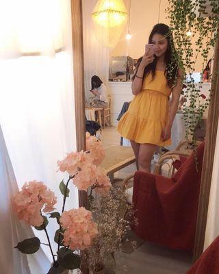 歐美蝴蝶結露背短洋裝