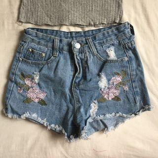 Embroidered Denim Shorts #apr75