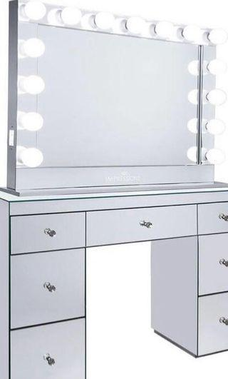 GLAMOUR MIRROR DESK SET UP - INCLUDES DESK, SEAT and XL MIRROR