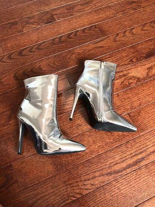 Brand new metallic limited edition silver boots