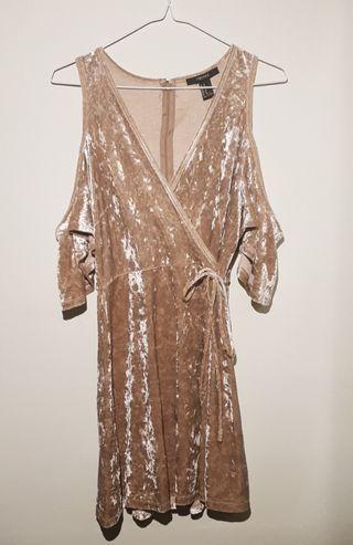 🚚 Gold Cold Shoulder Wrap Dress