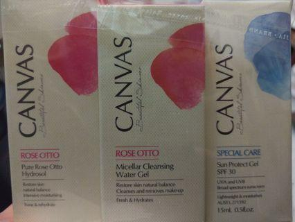 Canvas Pure Rose Otto Hydrosol / Cleaning water gel / Sun protect gel SPF30