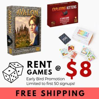 [EARLY BIRD] RENTAL BOARD CARD GAMES AT $8