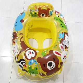 (Free Delivery) Japan Igarashi Animal Friends Yellow Inflatable Baby Float Swim Ring Seat with Handle and Rope