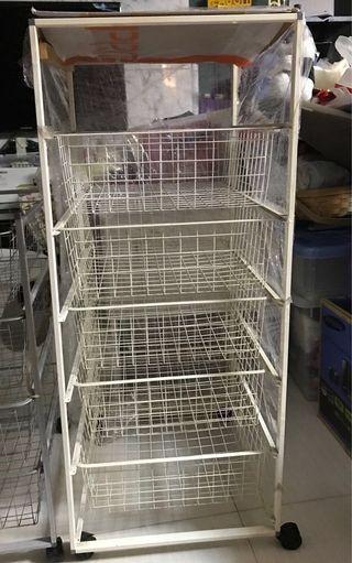Ikea ANTONIUS 5 wire baskets white frame & wheels
