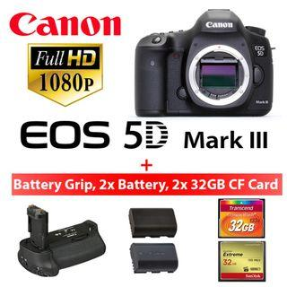 Canon 5D Mark III / Canon 5D Mark 3 with battery grip and 2x 32GB CF card