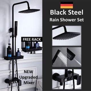 Multi Function Black Matt Rain Shower Set (FREE Soap Rack)