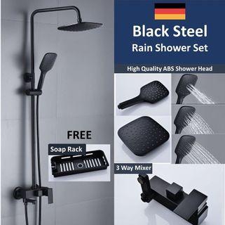 New Upgraded Mixer Black Matt Rain Shower Set