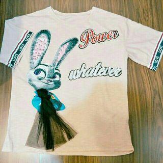 🚚 全新動物方程式兔子茱蒂潮流刺繡亮片英文字母淺粉紅色短袖T恤短袖上衣肉肉棉花糖大尺碼可