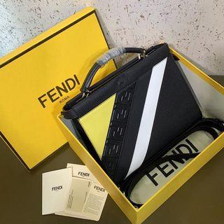 FENDI MINI PEEKABOO FIT  LEATHER BAG SIZE 28 CM INCLUDE BOX MIRROR QUALITY GRADE AAA