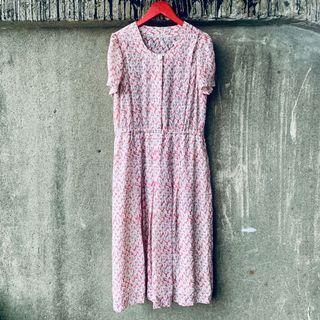 🚚 古著 粉紅白葉子洋裝