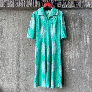 🚚 古著 幾何圖形綠色棉質洋裝