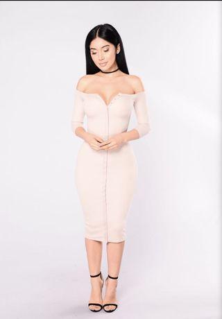 Nude off shoulder ribbed dress