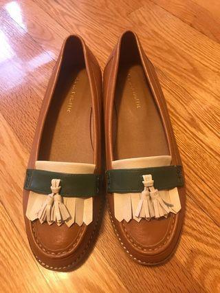 Oriental Traffic 啡色流蘇波紋樂福鞋 40 Brown Tassel Ruffle Loafers