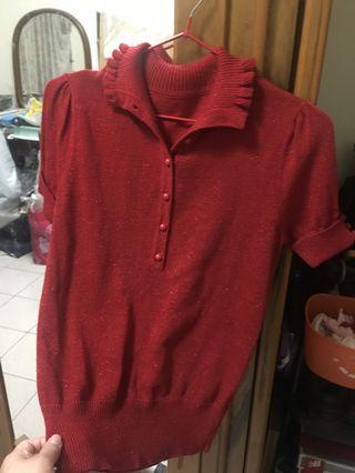 🚚 韓版。翻領紅金䓤針織上衣