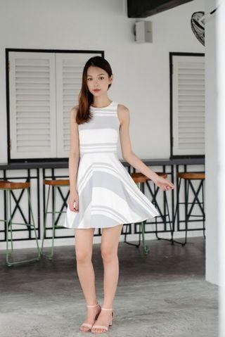 🚚 Hyped About Stripes Dress (Light Grey) Thread Theory XS