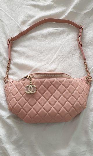 Chanel Waist Bag, Pink Biege, Calfskin, Gold Hardware.