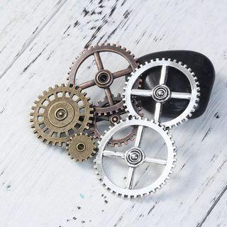 """DoreenBeads Zinc Based Alloy Antique Silver & Antique Copper Steampunk Pin Brooches Gears Hollow 78mm x 78mm(3 1/8""""), 1 Piece"""