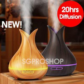 FREE ESSENTIAL OIL! New Wood Design Aroma Diffuser & Humidifier. Large 500ml capacity last 20hrs.