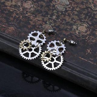 🚚 JAVRICK 1 Pair Women Steampunk Antique Female Gear Pendant Dangle Long Hook Earring Club Jewelry Vintage