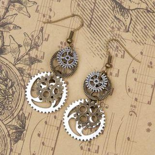 "🚚 DoreenBeads New Fashion Steampunk Earrings Antique Bronze Gear Pendants 60mm(2 3/8"") x 23mm( 7/8""), 1 Pair"
