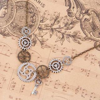 🚚 DoreenBeads New Fashion Steampunk Statement Necklace Link Cable Chain Antique Bronze Gear Key Pendants 45.5cm long, 1 Piece