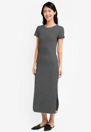 Stripe Knit T Shirt Dress ZALORA Black Base White Stripes XS