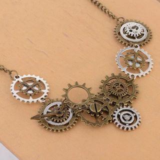 DoreenBeads Fashion Steampunk Necklace Bronze Link Chain Multilayers Bronze Silver Gear Pendant Punk Series Jewelry,1 Piece
